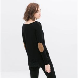 Zara • Black Contrast Elbow Patch Pullover Sweater